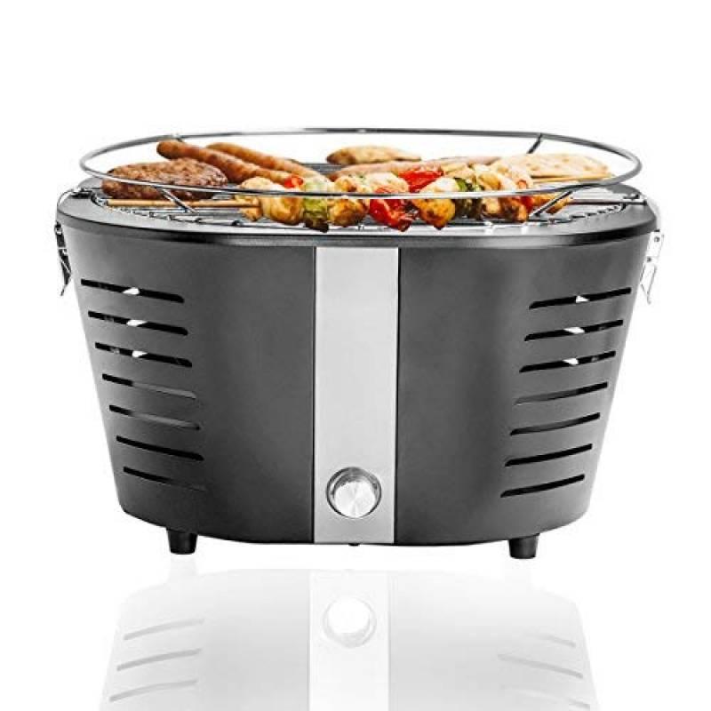 Barbecue Grill & Chill BBQ charbon barbecue de table pique-nique avec fumoir ventilateur Ø 36cm barbecue noir portable de la marque Gartendia TOP 3 image 0 produit