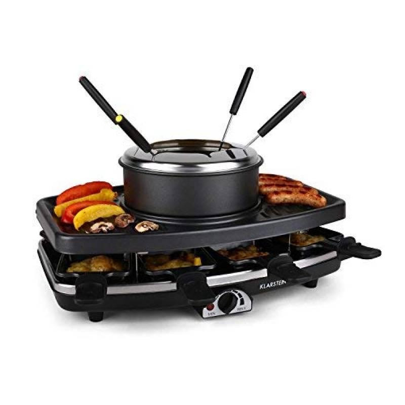 Klarstein Entrecote Grill Appareil à raclette Fondue (plaque de grill anti-adhésive, barbecue electrique, 1100W, 8 poelons) de la marque Klarstein TOP 1 image 0 produit
