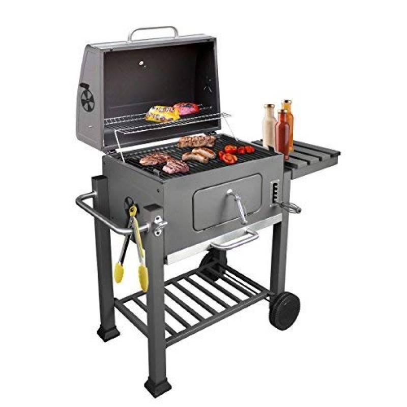 KROLLMANN Barbecue Charbon de Bois sur Roues avec 2 Grilles en Anthracite - BBQ avec Surface de Grill 55 x 41,5 cm + Pince Barbecue Incluse de la marque Krollma TOP 1 image 0 produit