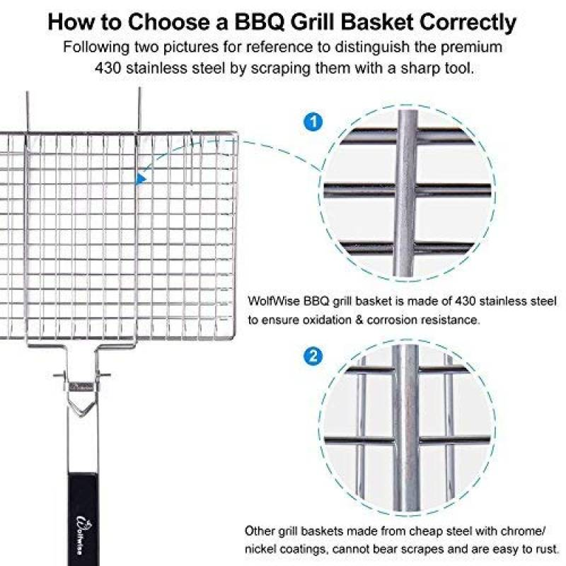Wolfwise Portable BBQ Poisson Barbecue panier grilles barbecue Burger légume 430