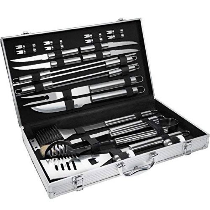 TecTake Kit 25 pièces accessoires et couverts Gril-Barbecue BBQ en acier inoxydable avec mallette argenté de la marque TecTake TOP 11 image 0 produit